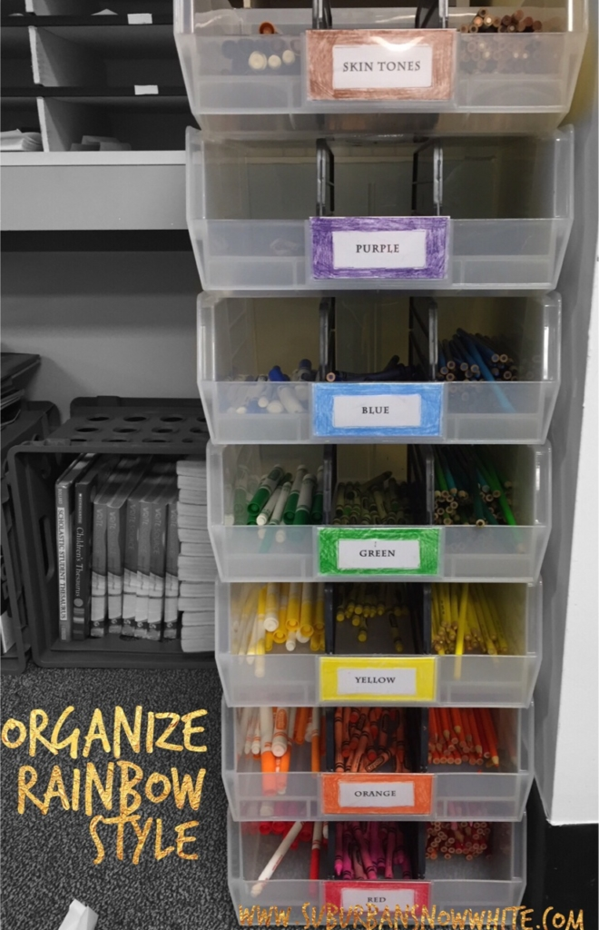 Organizing all your markers, crayons, and colored pencils in this stackable caddy will makes this a coveted job on our classroom jobs list.