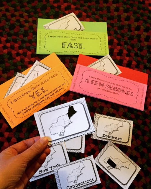 Learn the states and capitals with these flashcards and three fact pockets.