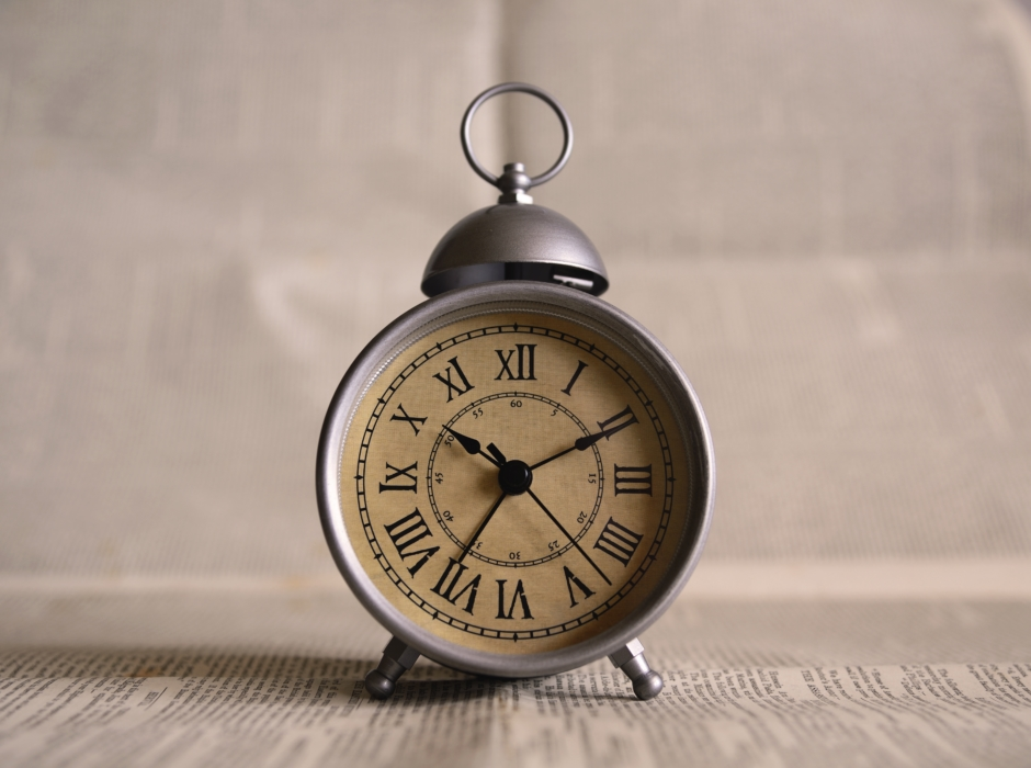 This old alarm clock displays that thing we teachers all want to save: time!