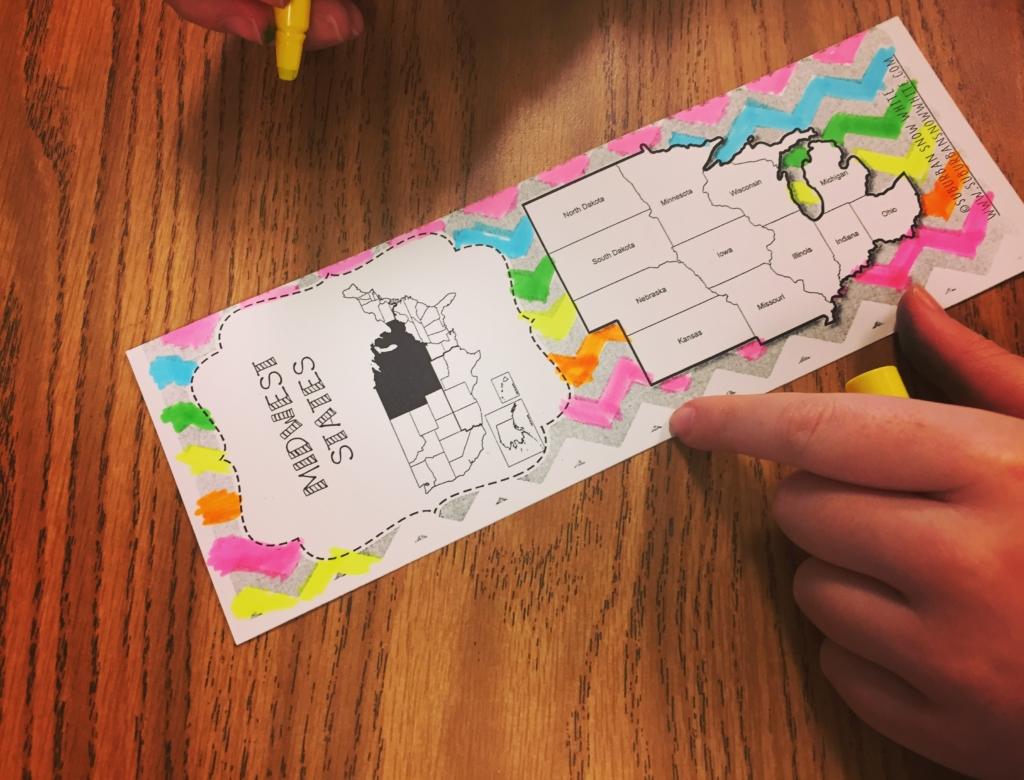Letting students color in these state bookmarks helps them learn the states and capitals.