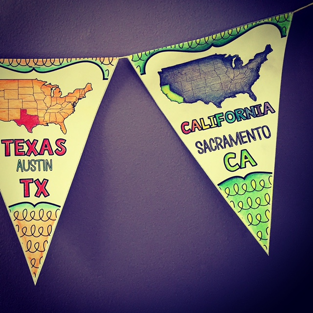 Help kids learn the states and capitals with classroom banners they can color in!