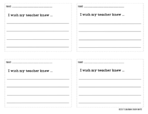 """I wish my teacher knew"" graphic organizer."