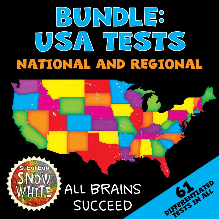 Get a bundle of all the differentiated United States tests so kids learn the states and capitals.