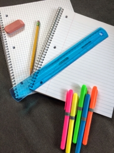 Paper, pencils, erasers, rulers, and highlighters are key materials to teaching the study skill of organizing one's math work.