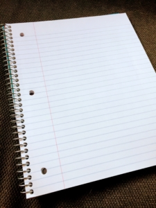 A line paper notebook isn't my favorite for organizing math work, but it will do in a pinch.
