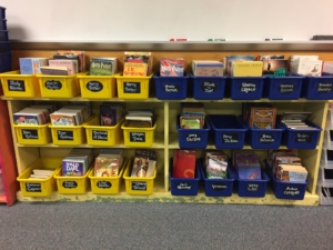 Classroom Management Strategies for keeping an organized classroom include using uniform colors and sizes of bins in your classroom library.
