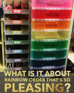 Rainbow Order for my bins is one of my classroom management strategies for keeping an organized classroom.