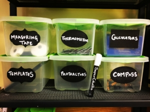 Classroom Management Strategies for an organized classroom include having uniform bins, as shown here with our math supplies