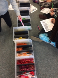 One of my favorite classroom management strategies is organizing my writing implements in rainbow order.